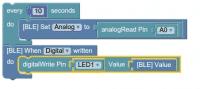Puck.js lässt sich ohne tiefergehende Programmierkenntnisse auch über die grafische Espruino-IDE programmieren.