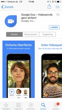 Duo ist auch für iOS verfügbar.