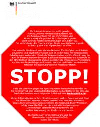 Entwurf einer Stopp-Seite für die Kinderporno-Sperren