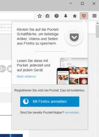 Seit Version 38 ist Pocket fester Bestandteil des Firefox-Browsers.