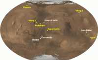 Bisherige Landestellen von Marssonden der NASA. In Weiß sind mögliche MSL-Landeplätze gekennmarkiert. Und Nein: Im Jahr 2012 wird kein Marsroboter in Brandenburg landen.