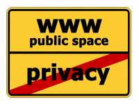 "Ortsschild ""WWW Public Space"", Ortsende ""Privacy"""""
