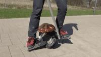 Person steht auf Elektronischem Scooter