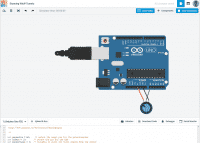 Ansicht von Tinkercad Circuits mit einem blauen Arduino in der Mitte