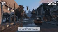 Liberty City in GTA V: Straßenszene mit Empire State Building im Hintergrund.