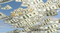 Dollarscheine und -münzen regnen vom Himmel