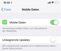 Unbegrenzte Updates iCloud-Fotomediathek