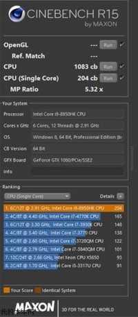 Cinebench-Ergebnis des Core i9-8950HK