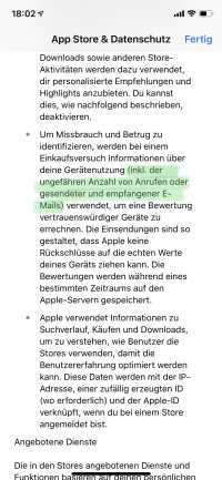 Die Erfassung von Daten zur Gerätenutzung erwähnt Apple in den neuen Datenschutzhinweisen des App Stores.