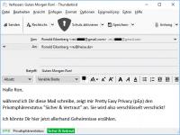 """Trügerische Sicherheit: Der Privatspährenstatur """"Sicher & Vertraut"""" bedeutet, dass die Mail verschlüsselt verschickt wird. In Wahrheit wird sie jedoch im Klartext verschickt."""