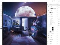 """Die Mobil-App """"Photoshop in iPad"""" setzt Werkzeuge und Ebenenpalette um, wie man es vom Desktop gewohnt ist."""