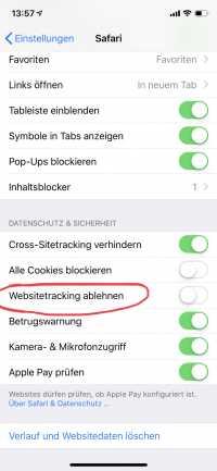 """""""Websitetracking verhindern"""" verschwindet bald.Aktivieren sollte man die Funktion nicht."""