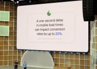 Bühne der Google I/O mit Leinwand, auf der informiert wird, dass längere Ladezeiten die Conversion Rate in Webshops senken.