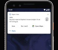Android Q schlägt Antworten und Aktionen bei Benachrichtigungen vor.