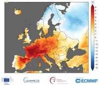 Karte mit den nach ERA5 geschätzten Temperaturanomalien in °C während des 5-Tages-Zeitraums vom 25. bis 29. Juni 2019.