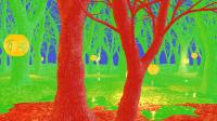 Die Bäume im Vordergrund werden mit maximaler Shading-Präzision berechnet. Den Hintergrund fasst 3DMark zu 2 × 2 (grün) und 4 × 4 Pixel großen Blöcken (blau) zusammen.