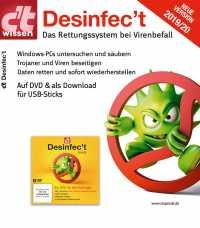 Mit Desinfec't 2019/20 untersucht man WIndows auf Trojaner. Das Rettungssystem startet direkt von DVD oder USB-Stick.