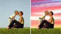 Premiere Elements 2020 tauscht den Himmel in Video-Clips durch animierten Hintergrund aus.