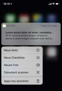 Schneller gehts mit 3D Touch: Ein fester Druck aufs Notizen-Icon führt direkt zur praktischen Scan-Funktion.