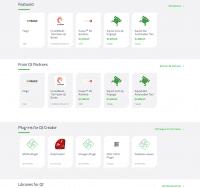 Der Qt Marketplace bietet Inhalte in unterschiedliche Kategorien sortiert an.