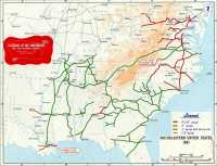 Bahnlinien der Südstaaten zu Beginn des Bürgerkriegs, die Spurweite von fünf Fuß dominierte bereits 1861.