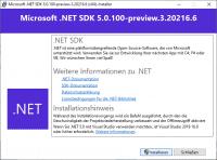 Installation von .NET 5.0 Preview 3