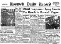 Die Zeitung Roswell Daily Record berichtet über den Roswell-Vorfall.