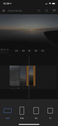 Premiere Rush beschneidet Videos auf dem iPhone im Format 5:4.