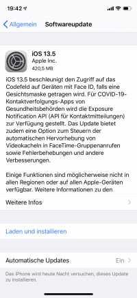 Auf einem iPhone 11 ist das Update gut 420 MByte groß.