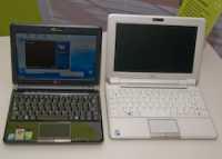 Der Eee PC 901 (links) hat ein 8,9-Zoll-Display, der 1000 (rechts) eines mit 10 Zoll Diagonale