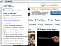 Screenshot von Website-spezifischen Einstellungen†