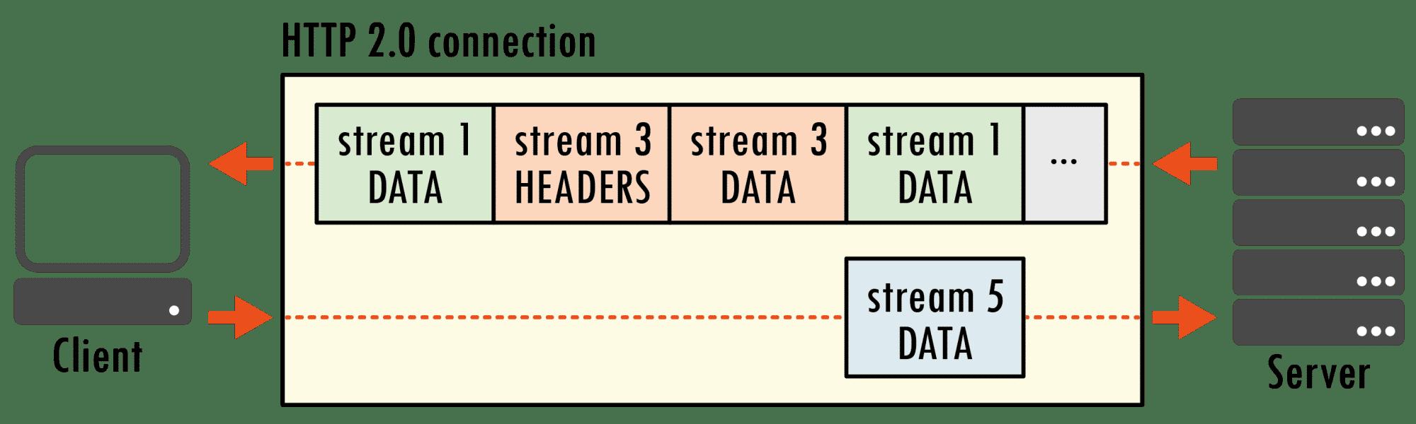 Client und Server können per HTTP 2.0 Daten bidirektional im Binärformat übermitteln. Besonders nützlich für den Client ist das neue Kompressionsverfahren, mittels dem er Frame-Header schrumpft und so den Durchsatz auf schmalen Uplinks verbessert.