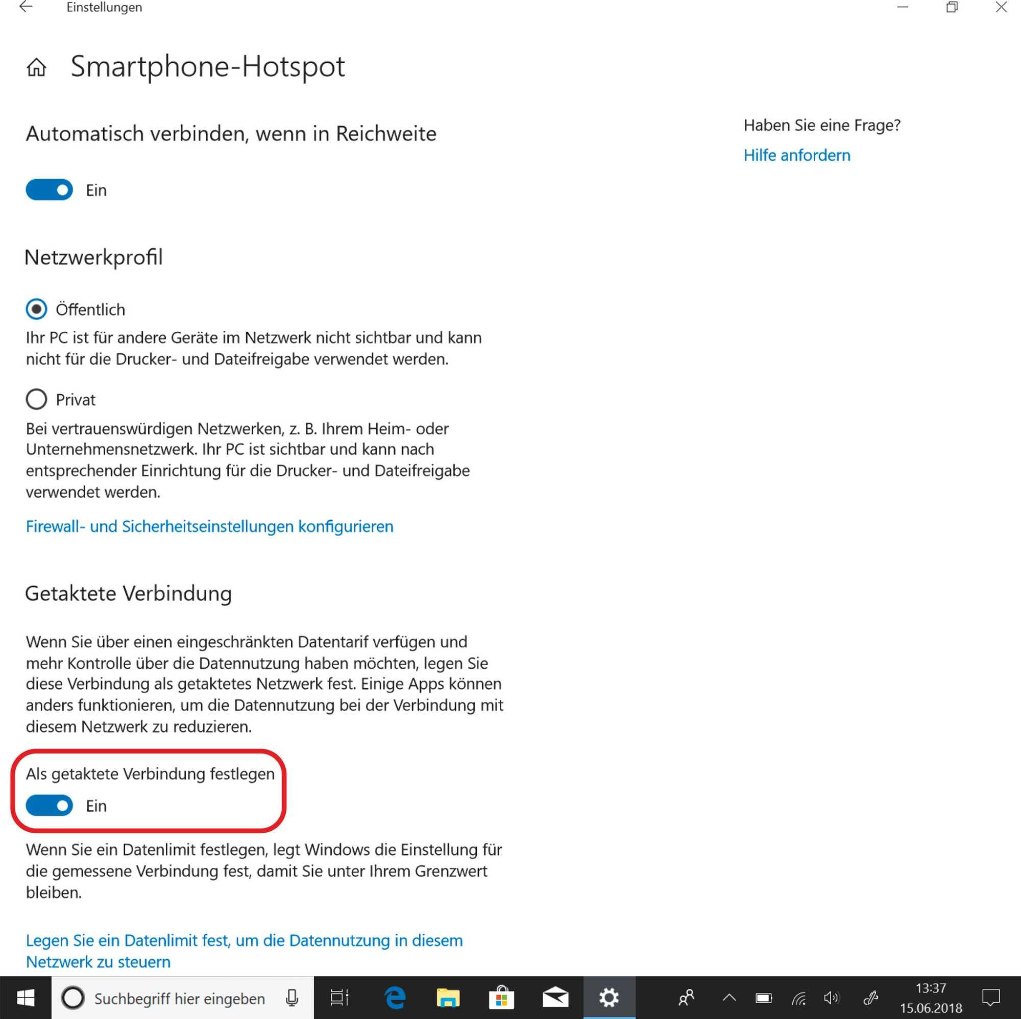 """Nutzt man mit Windows eine Mobilfunkverbindung oder ein anderes Netzwerk mit Volumenbegrenzung, sollte man die Option """"Getaktete Verbindung"""" aktivieren."""