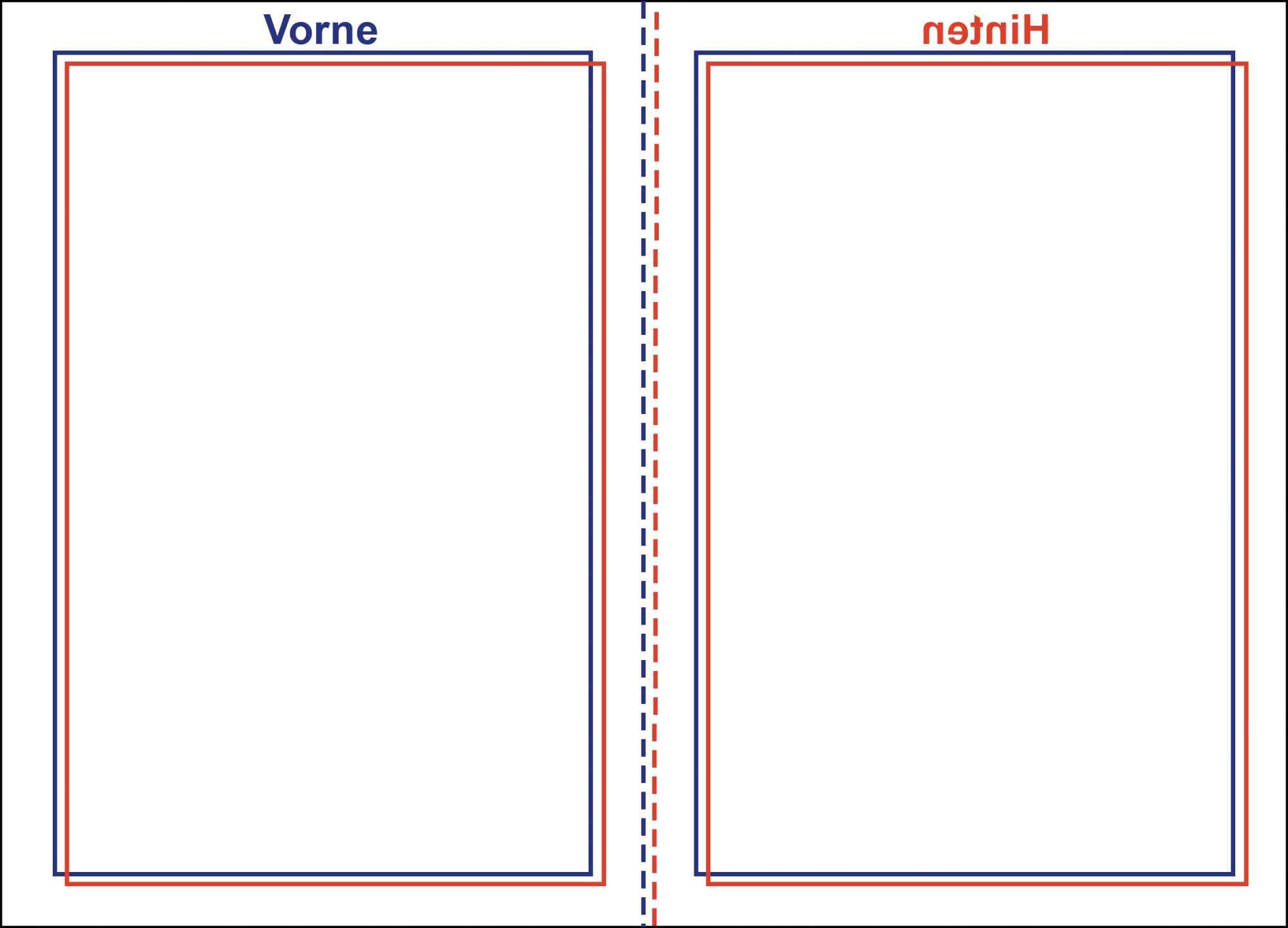 Ob sich die Seiten der selbst gedruckten Broschüre genau kombinieren lassen, verrät der Ausdruck eines solchen Testdokuments, den man gegen das Licht hält. Im Idealfall sind Vorder- und Rückseite deckungsgleich, Versatz wie hier bedarf der Korrektur.
