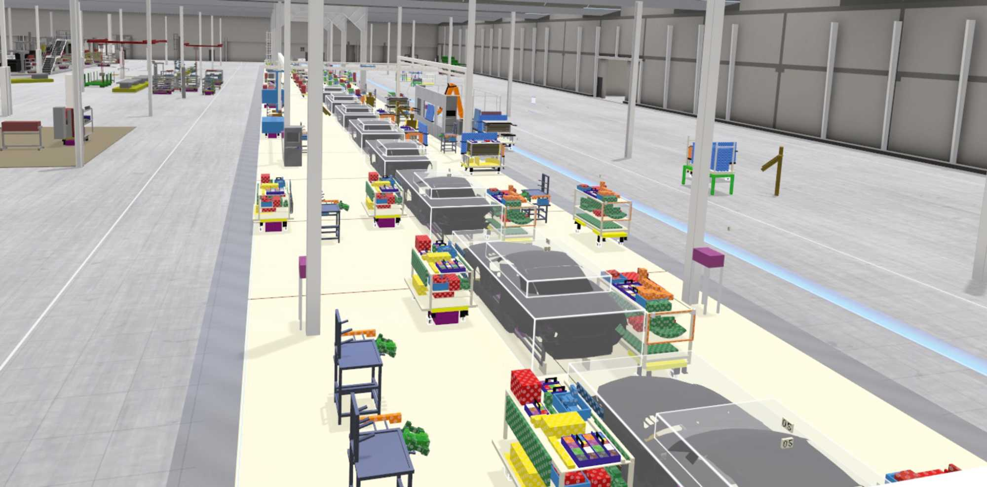 So soll im nächsten Jahr Halle 3 bei Daimler in Bremen aussehen, vorgeplant wurden die Montagestationen in Boxplan.