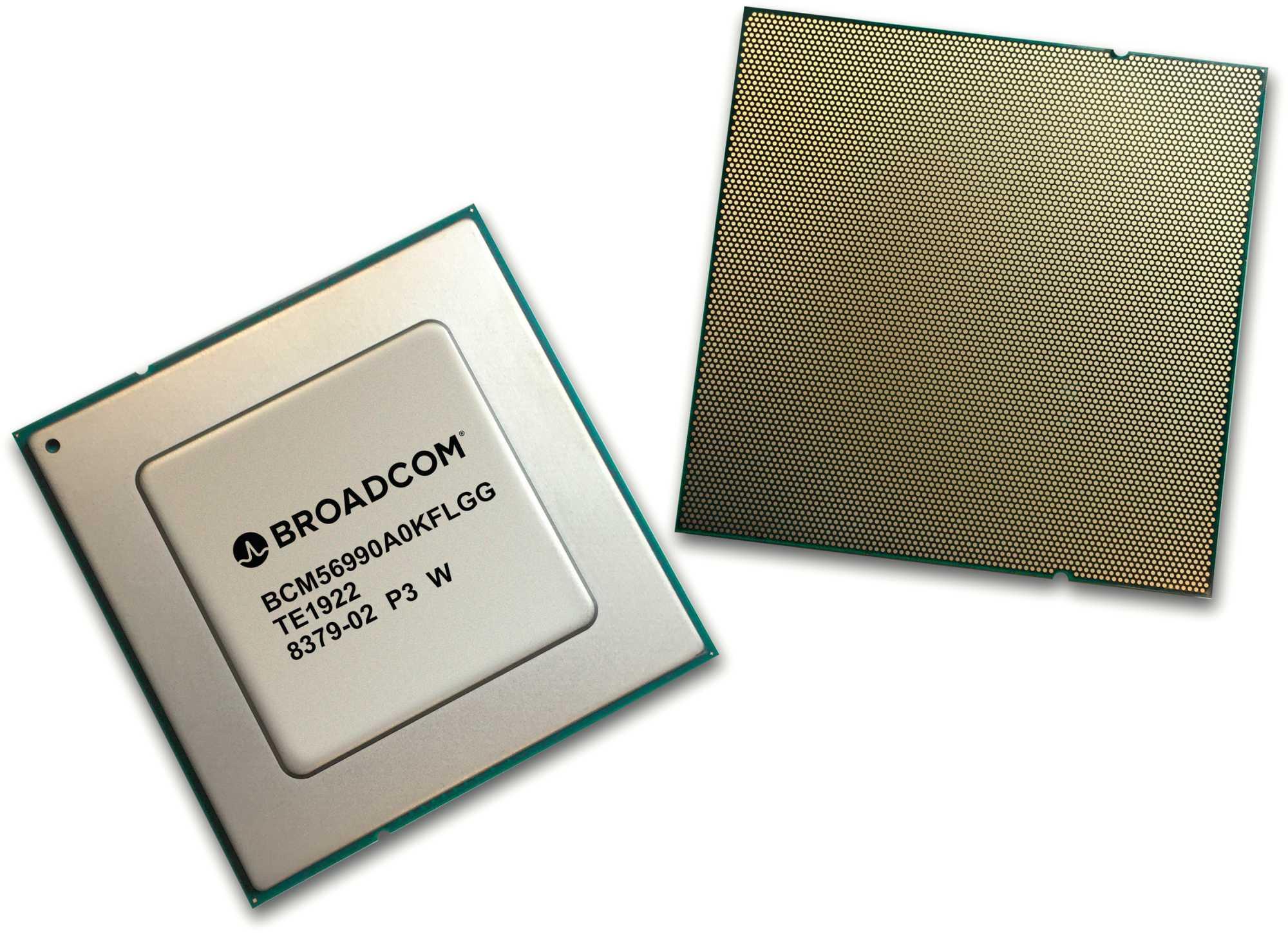 Der Broadcom-Netzwerkprozessor Tomahawk 4 nutzt 31 Milliarden 7-Nanometer-Transistoren, um 64 Ethernet-Ports mit je 400 GBit/s zu verknüpfen.