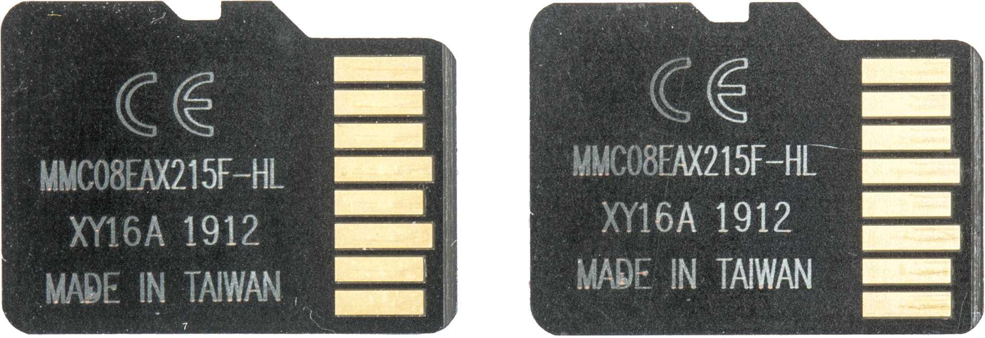 Die gefälschten MicroSD-Karten mit Logos von Kingston und Samsung tragen auf ihren Rückseiten dieselben Typenbezeichnungen.