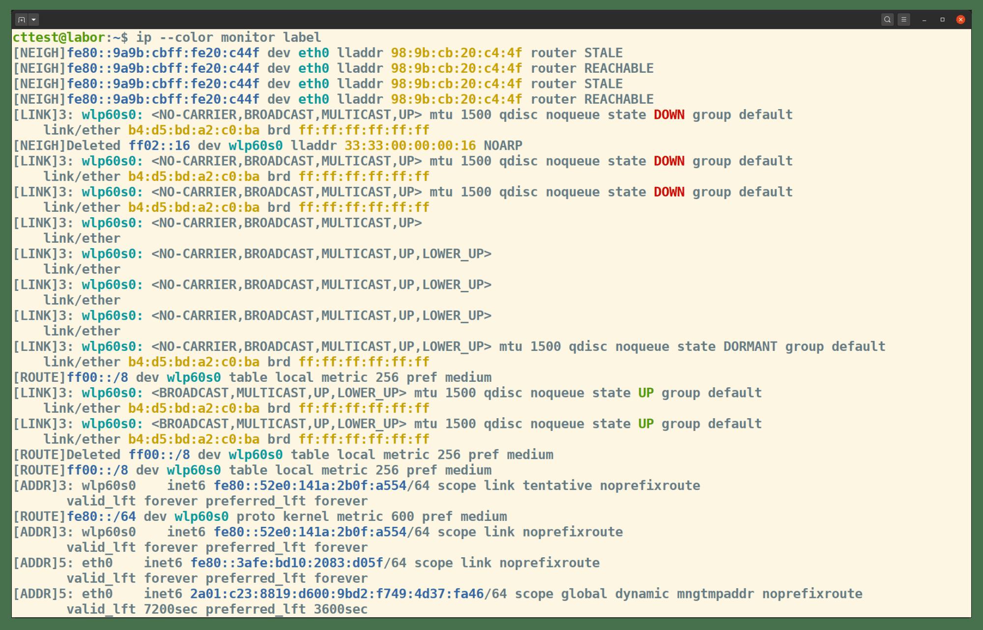 Mit dem Subkommando monitor zeigt ip laufende Änderungen der Netzwerkkonfiguration an.