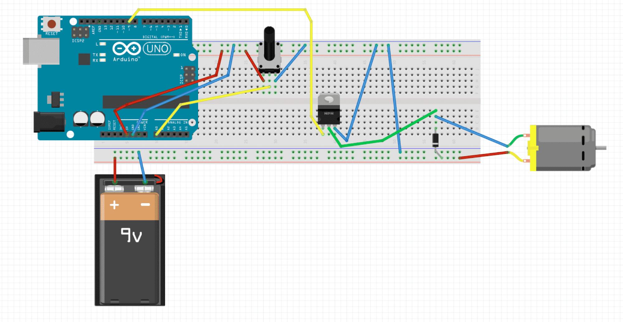 Die Schaltung für die einfache Motorsteuerung mit Arduino