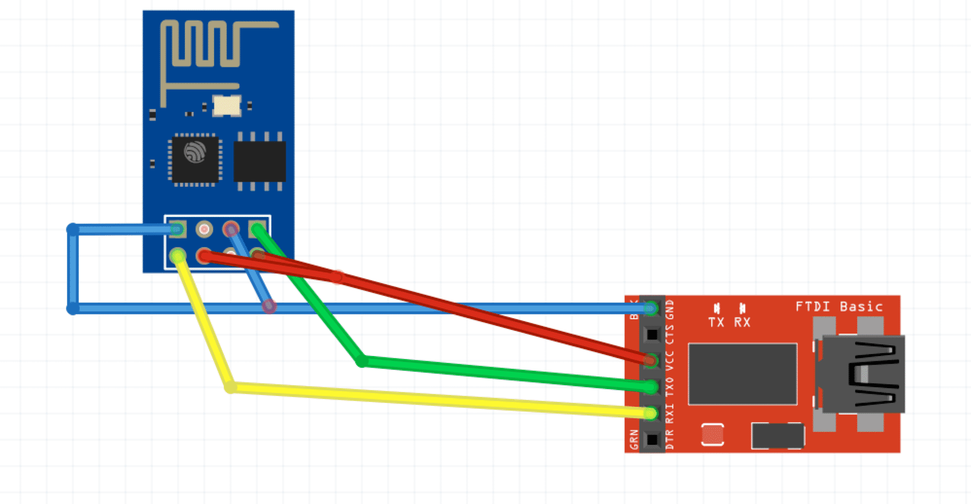 Anschluss FTDI und ESP-01 Board