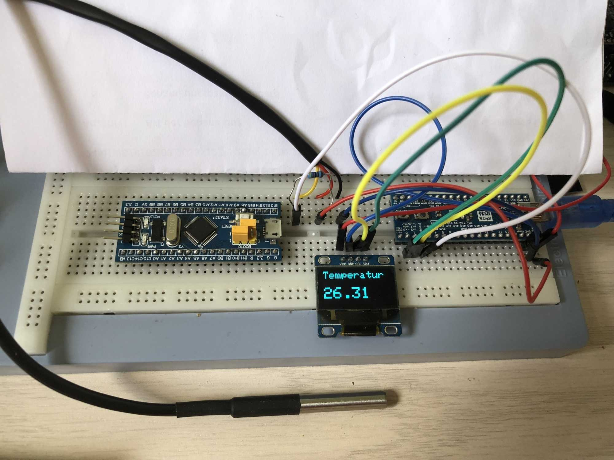 Das laufende System auf Basis des Maple Mini von Baite mit Temperatursensor und OLED-Display