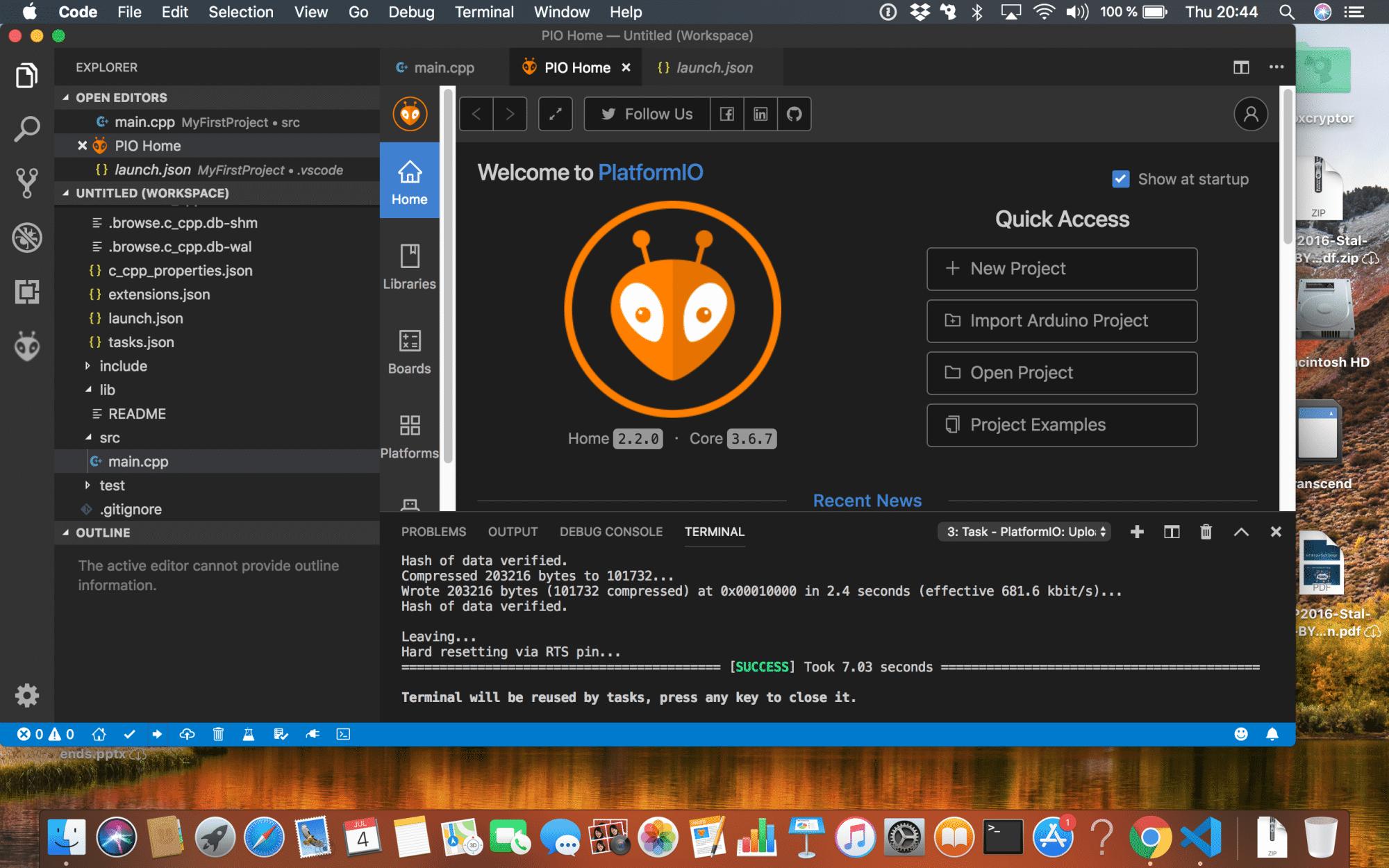Der Wizard von PlatformIO erzeugt einen Projektordner, darunter auch das Unterverzeichnis src mit dem Hauptprogramm main.cpp