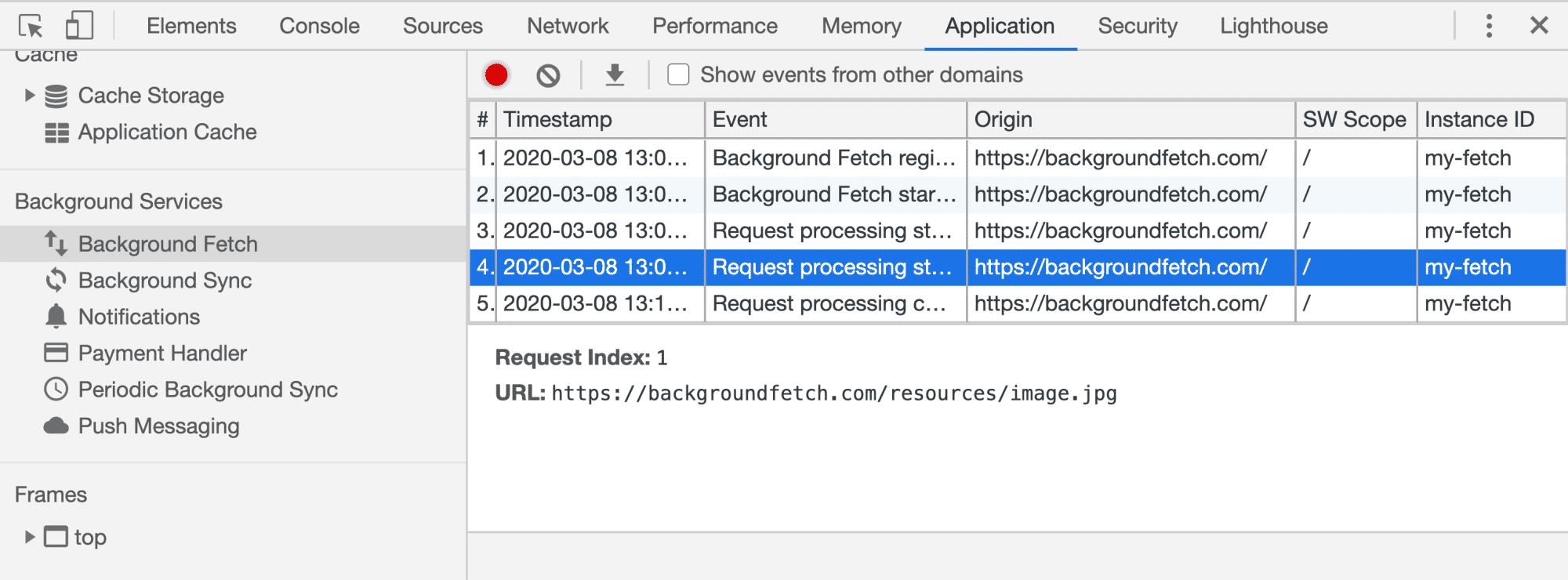 Debugging von Background-Fetch-Ereignissen über die DevTools