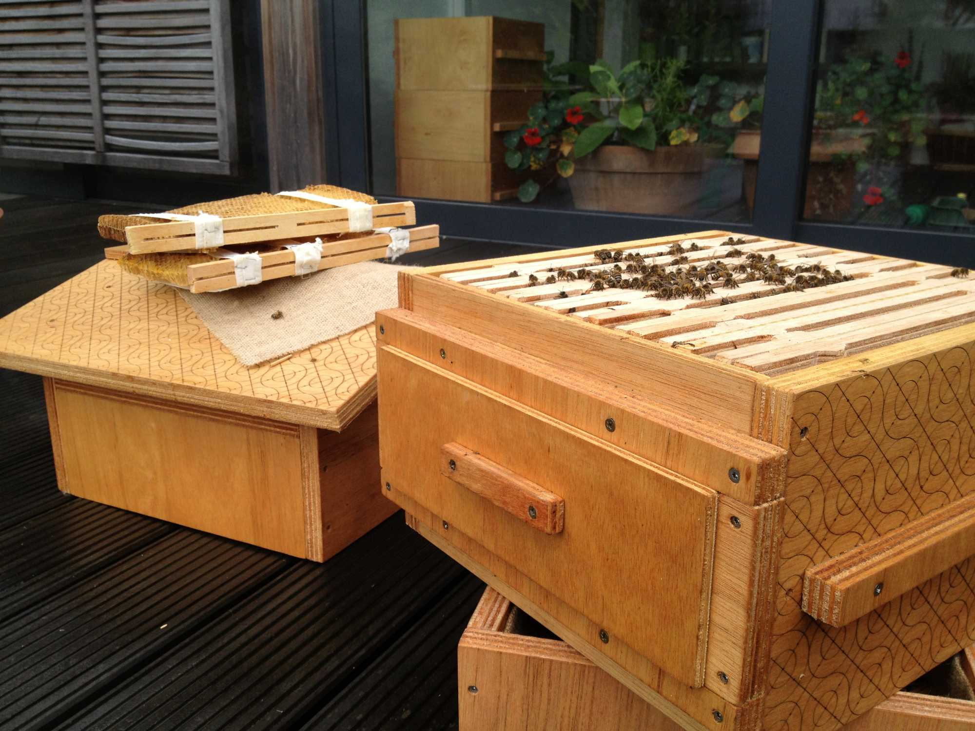 Die quelloffenen Bienenstöcke sind für optimale Lebensbedingungen ihrer Bewohner optimiert.