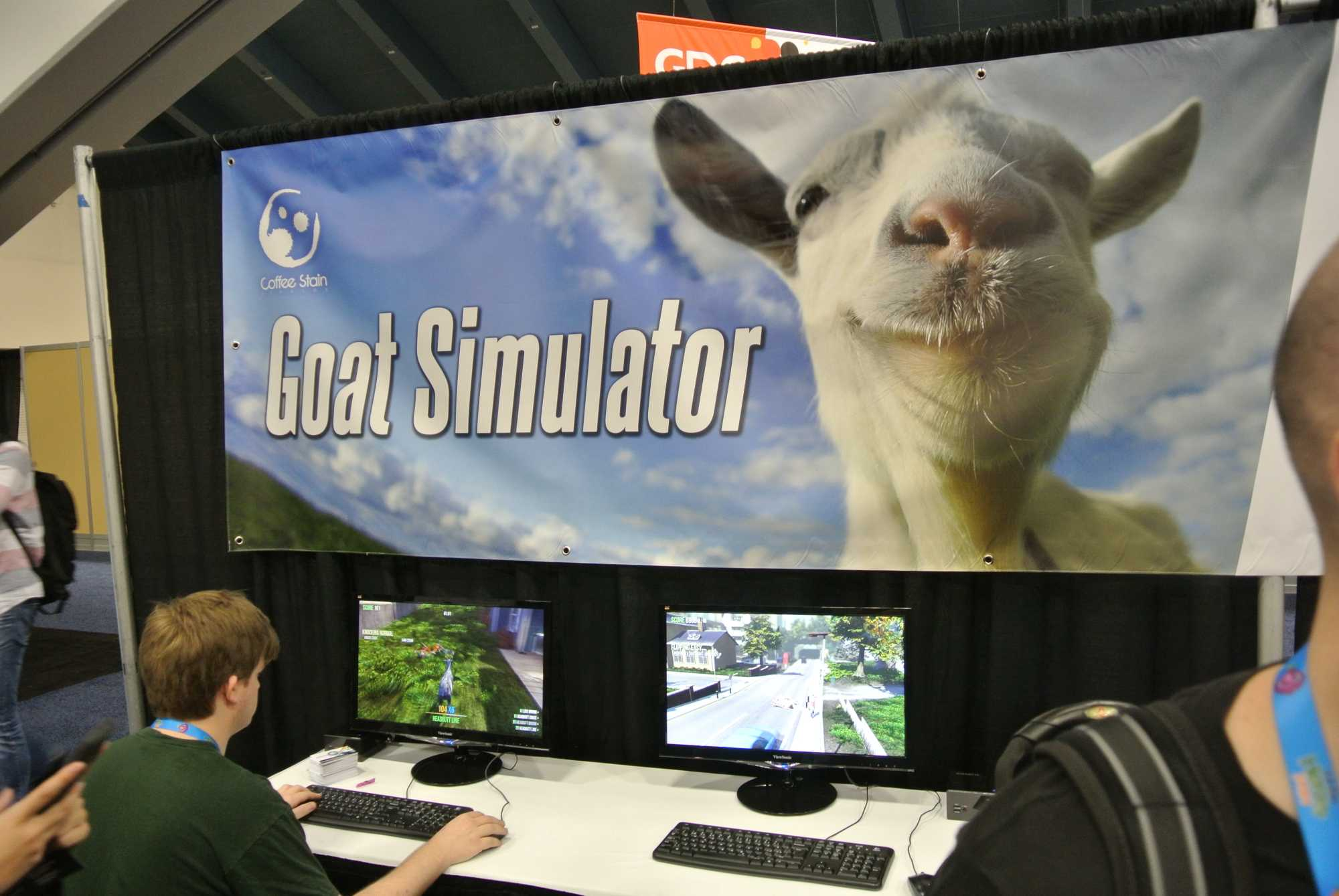 Auf der GDC überraschten die Schweden mit einem eigenen Stand, an dem man den Goat Simulator schon mal ausprobieren konnte.
