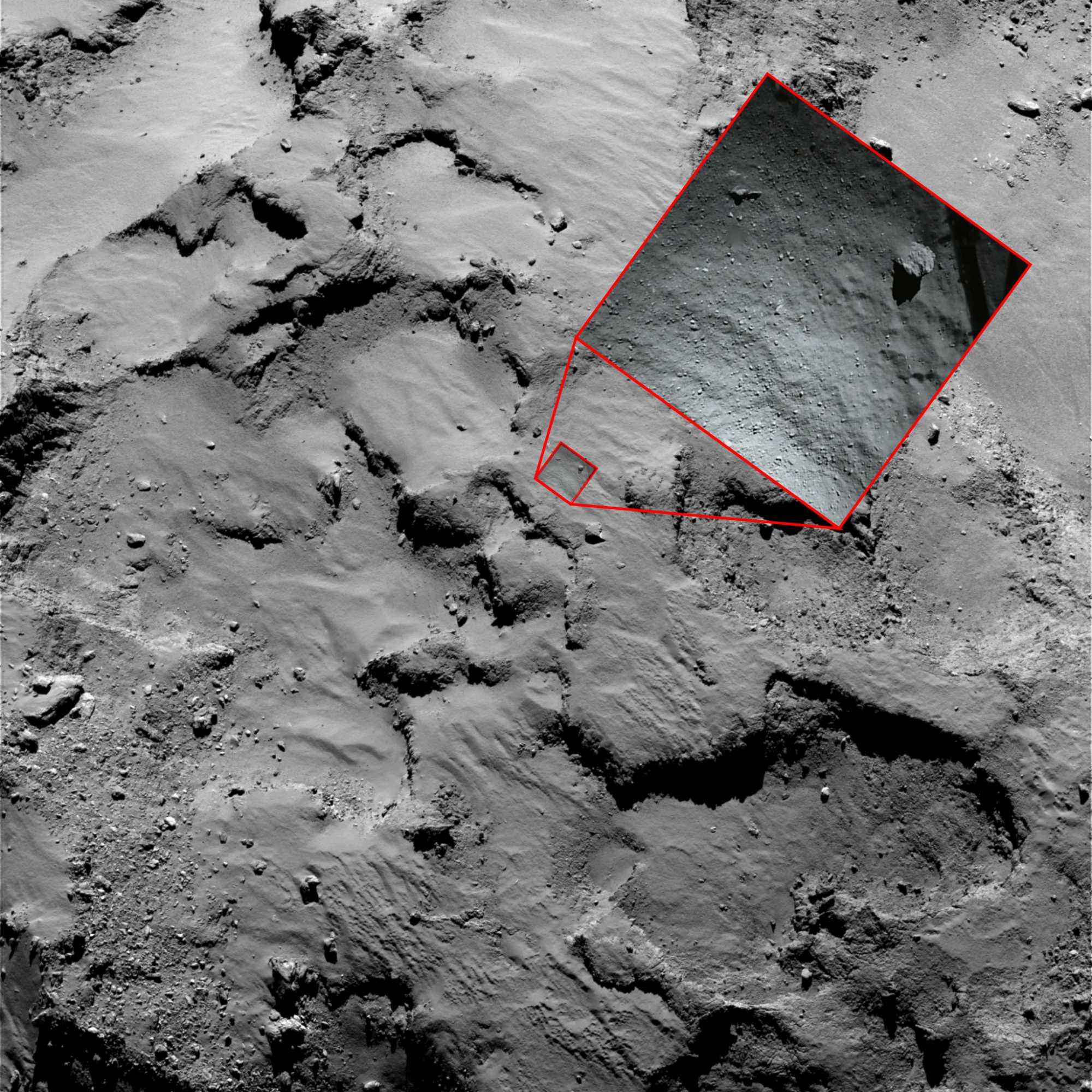 Hier setzte Philae das erste mal auf.