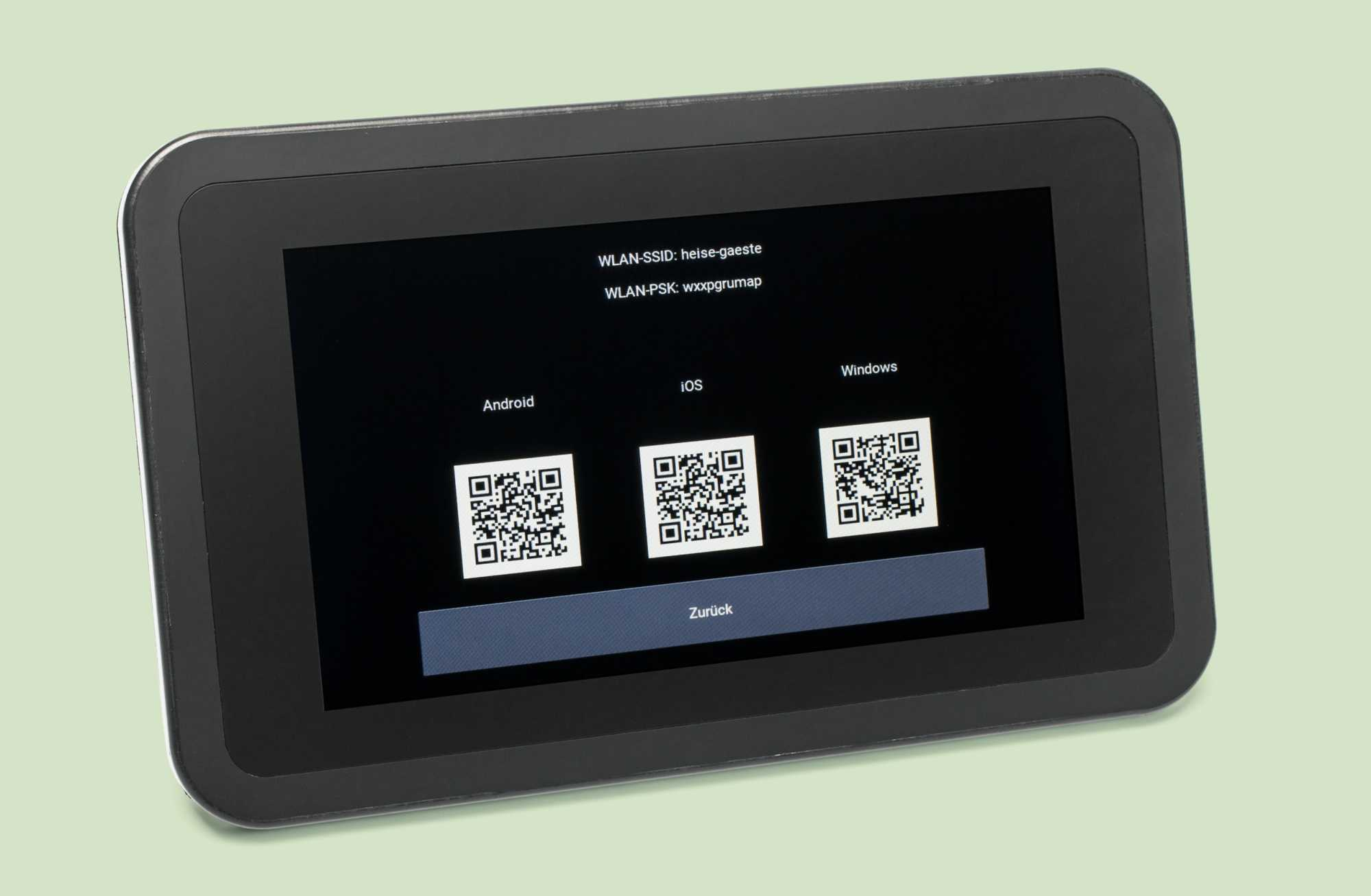 Das Passwort fürs Gäste-WLAN wird als abfotografierter QR-Code am kleinen Display angezeigt.