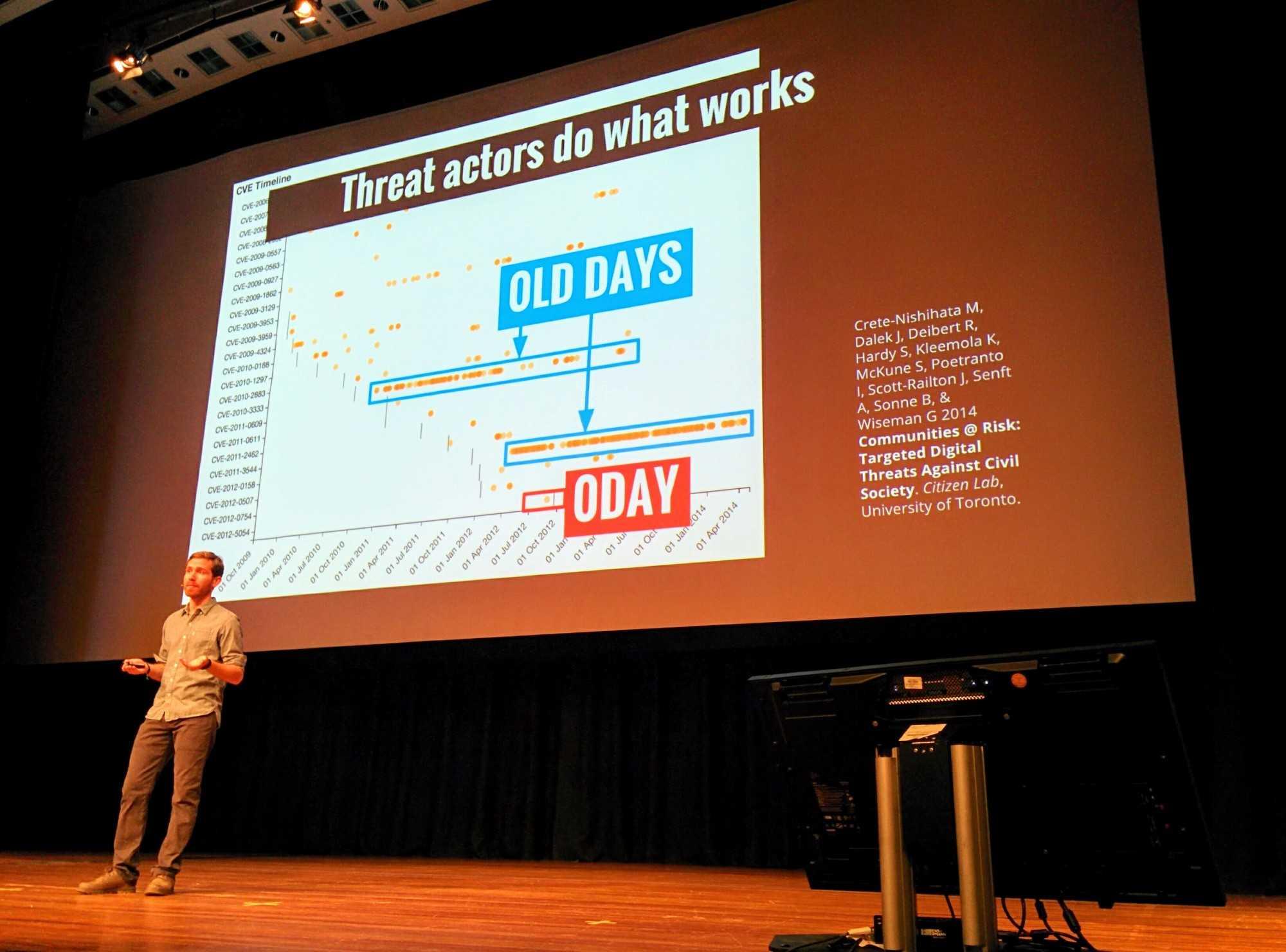 "John Scott-Railton erläutert den Bespitzelungs-Trend von den ""old days"" bis (t)""oday""."