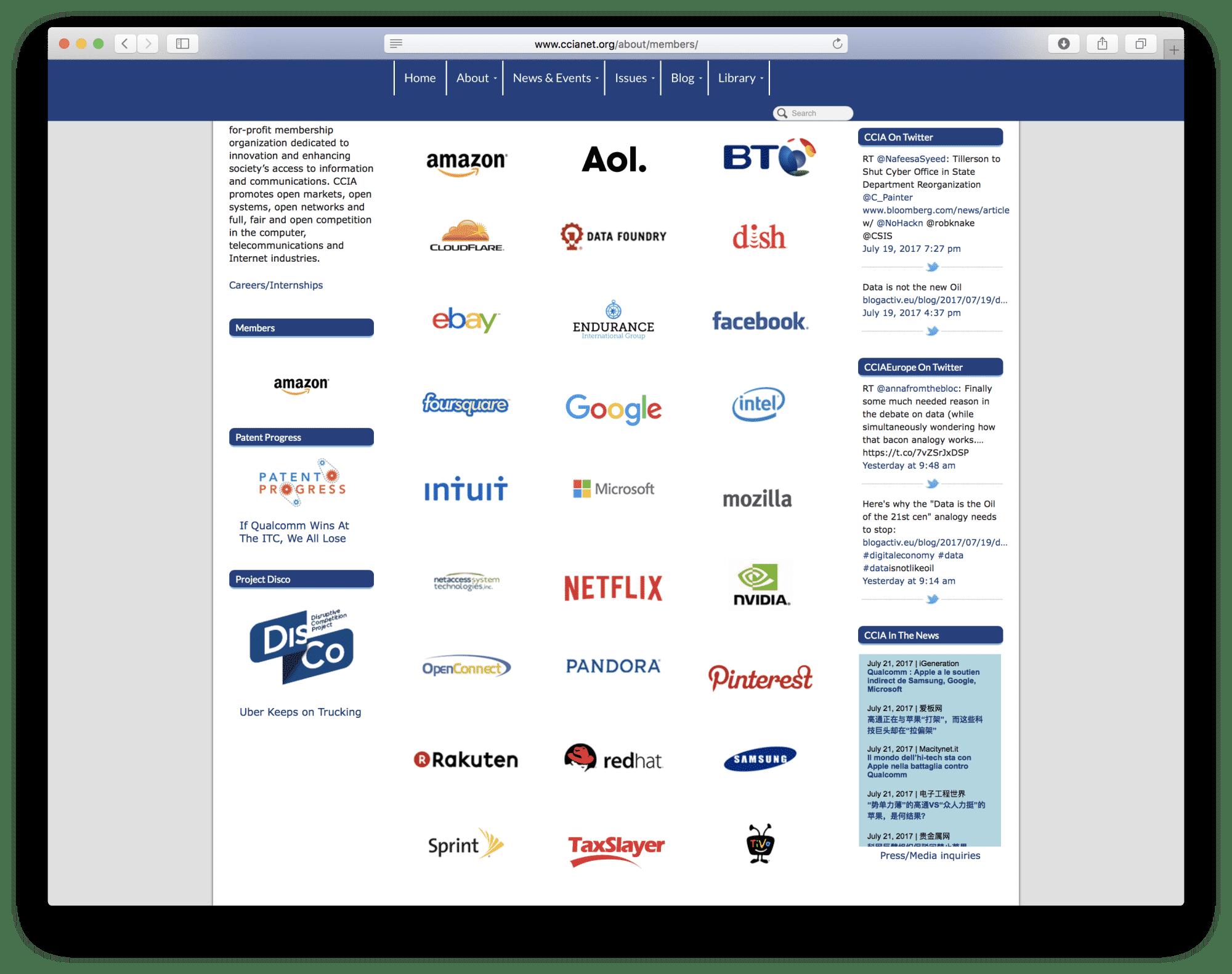 CCIA-Webseite