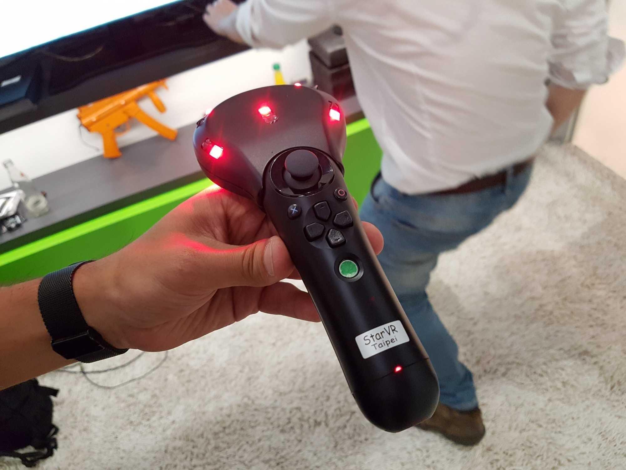 Auch der Handcontroller-Prototyp arbeitet mit Phasespace-Tracking.
